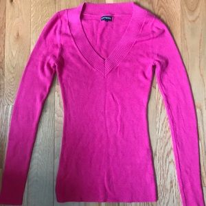 Express v-neck sweater S small pink long sleeve